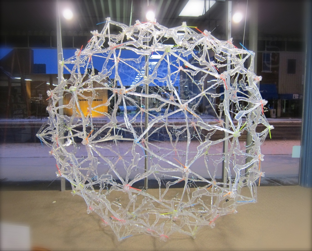 Geodesic Dome made from hangers donated to Thrift Shop